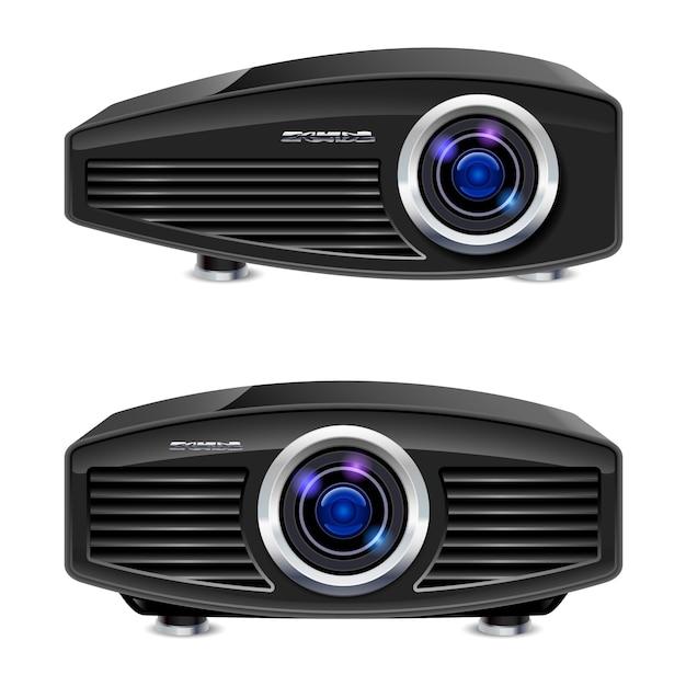 Proiettore multimediale realistico Vettore Premium