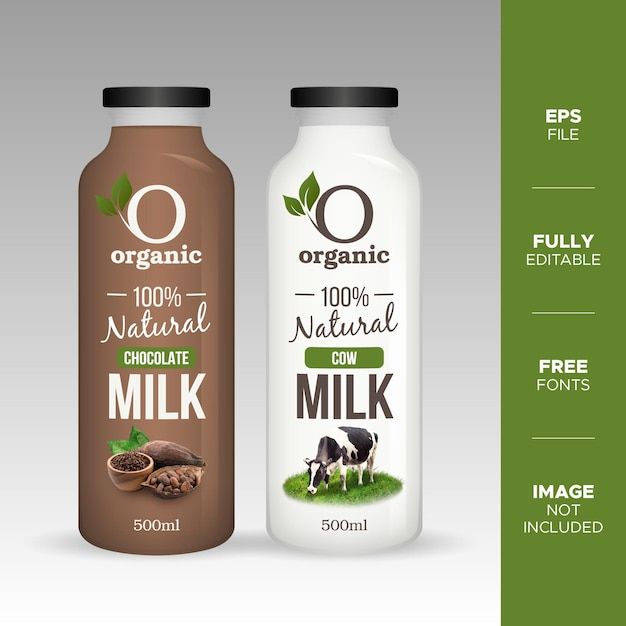Mockup di bottiglia di vetro di latte di mucca e cioccolato naturale realistico Vettore Premium