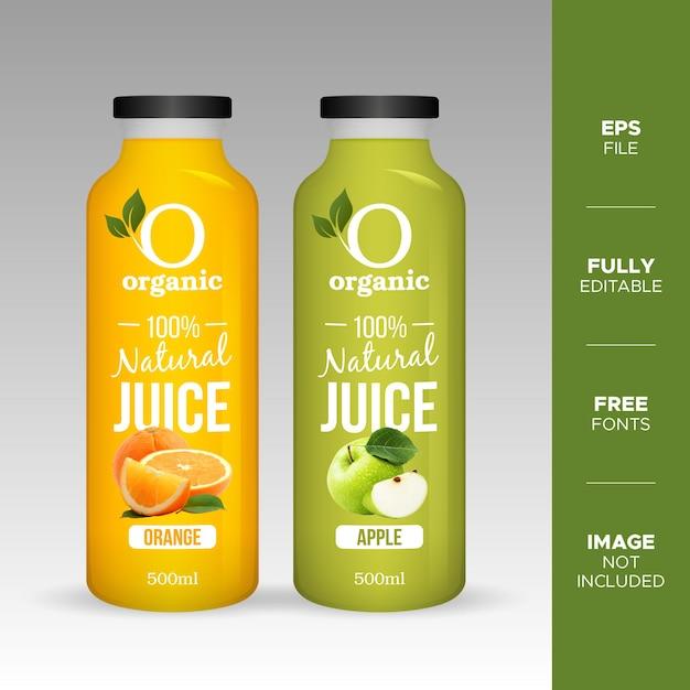 Mockup di bottiglia di vetro di succo di frutta naturale realistico Vettore Premium