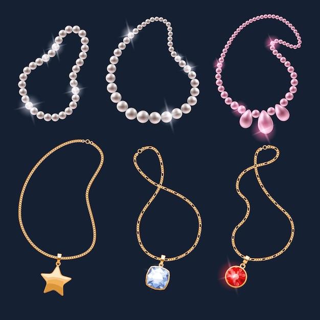 Set di icone di accessori gioielli collane realistiche. Vettore Premium