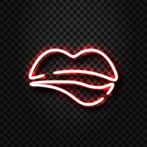 Le labbra erotiche al neon realistiche firmano per la decorazione e la copertura sullo sfondo trasparente. concetto di spettacolo erotico e night club. Vettore Premium