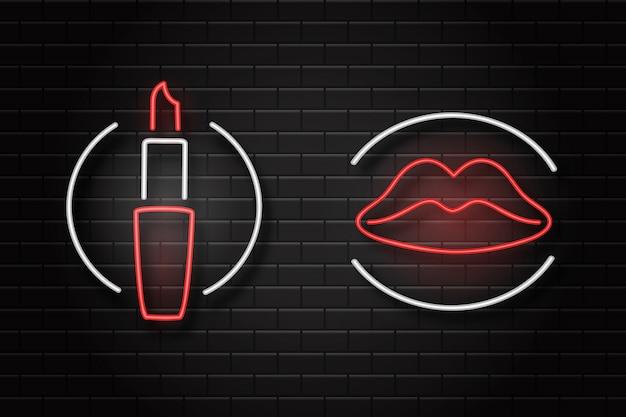 Segni retrò al neon realistici di labbra e rossetto sullo sfondo della parete per la decorazione e la copertura. concetto di cosmetici e bellezza. Vettore Premium
