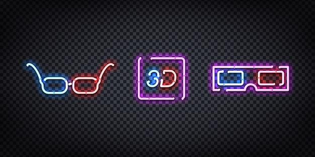 Insegna al neon realistica del logo degli occhiali 3d per la decorazione e la copertura sullo sfondo trasparente. concetto di cinema, studio cinematografico e regista. Vettore Premium