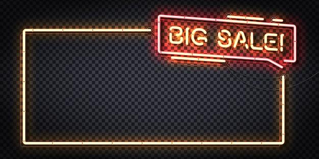 Segno al neon realistico del logo del telaio big sale Vettore Premium