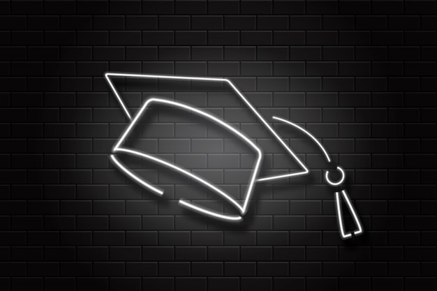 Tappo di laurea realistico segno al neon sullo sfondo della parete per la decorazione e il rivestimento. concetto di istruzione, laurea e ritorno a scuola. Vettore Premium