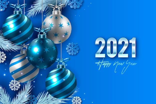 Sfondo realistico del nuovo anno 2021 Vettore Premium