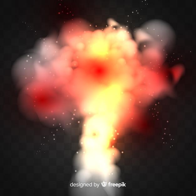 Effetto fumo di bomba nucleare realistico Vettore Premium