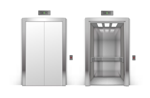 Porte dell'ascensore dell'edificio per uffici in metallo cromato aperte e chiuse realistiche isolate su priorità bassa Vettore Premium