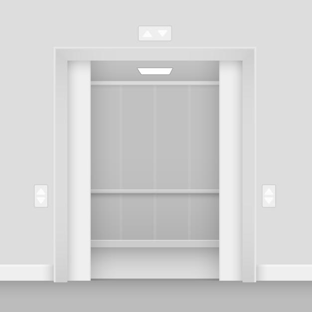 Interno del corridoio ascensore vuoto aperto realistico Vettore Premium