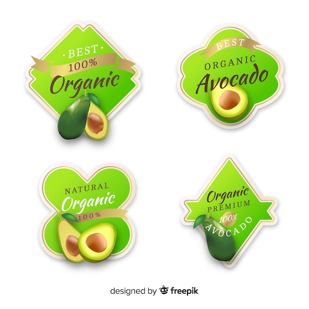 Set di etichette di frutta biologica realistica Vettore Premium