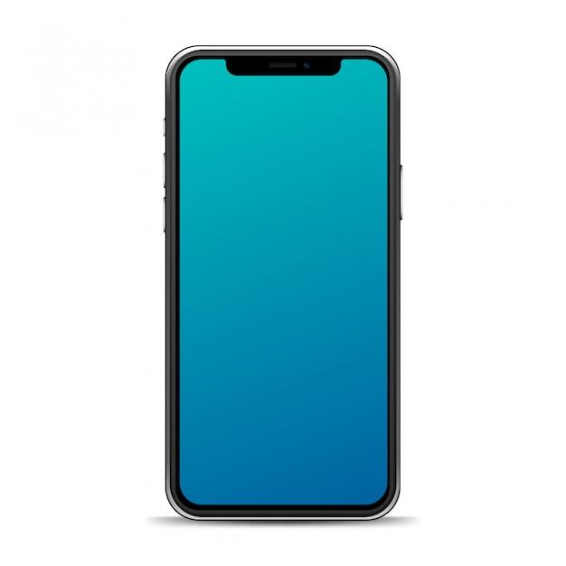 Telefono realistico isolato su uno sfondo bianco. modello di smartphone per il tuo mockup Vettore Premium