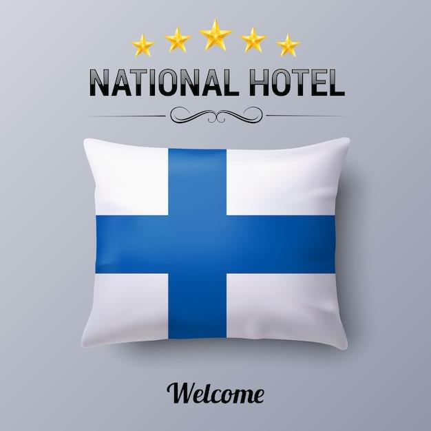 Cuscino realistico e bandiera della finlandia come simbolo dell'hotel nazionale Vettore Premium