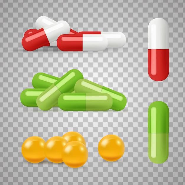 Pillole realistiche droghe, farmaci su sfondo trasparente Vettore Premium