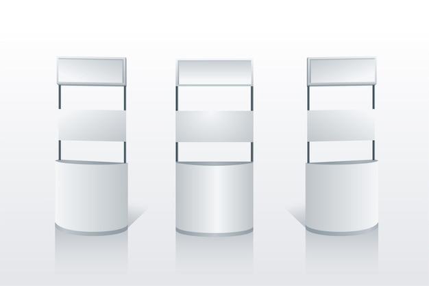 Collezione di tavoli da banco di promozione realistica Vettore Premium
