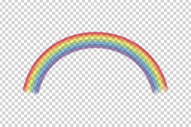Effetto arcobaleno realistico sullo sfondo trasparente. Vettore Premium