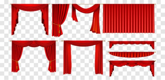 Set di tende rosse realistiche decorare la collezione di elementi Vettore Premium