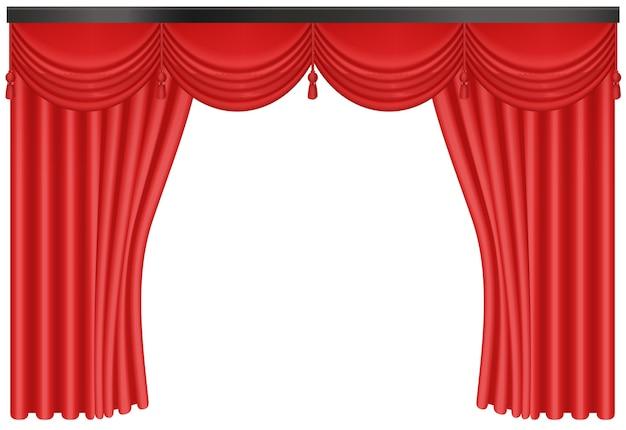 Ingresso di sfondo realistico tende di seta rossa Vettore Premium
