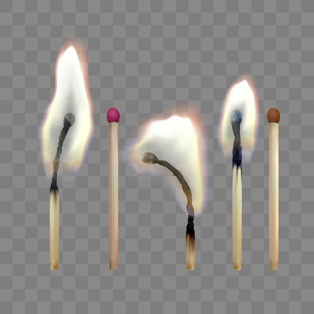 Partita di sicurezza realistica. set di fiammiferi in legno. illustrazione Vettore Premium