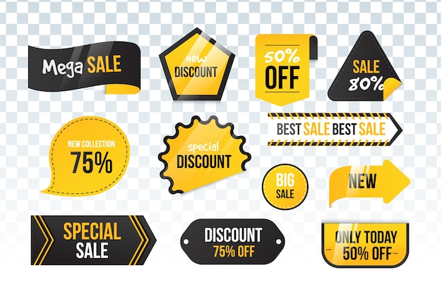 Collezione di etichette di vendita realistica Vettore Premium