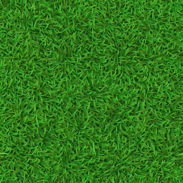 Realistico prato verde senza soluzione di continuità. erba la struttura del tappeto, il modello fresco della copertura della natura, l'erba verde del giardino e il fondo del prato delle erbe. calcio, trama del campo di calcio Vettore Premium