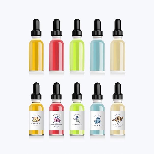 Set di bottiglie realistiche che imitano i gusti di una sigaretta elettronica con diversi gusti di frutta. flacone contagocce con etichette bianche di design. illustrazione. Vettore Premium