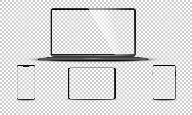 Set realistico di monitor, laptop, tablet, smartphone Vettore Premium
