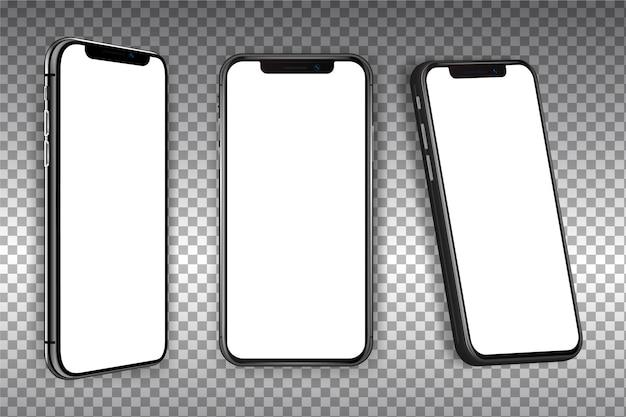 Smartphone realistico in diverse visualizzazioni Vettore Premium
