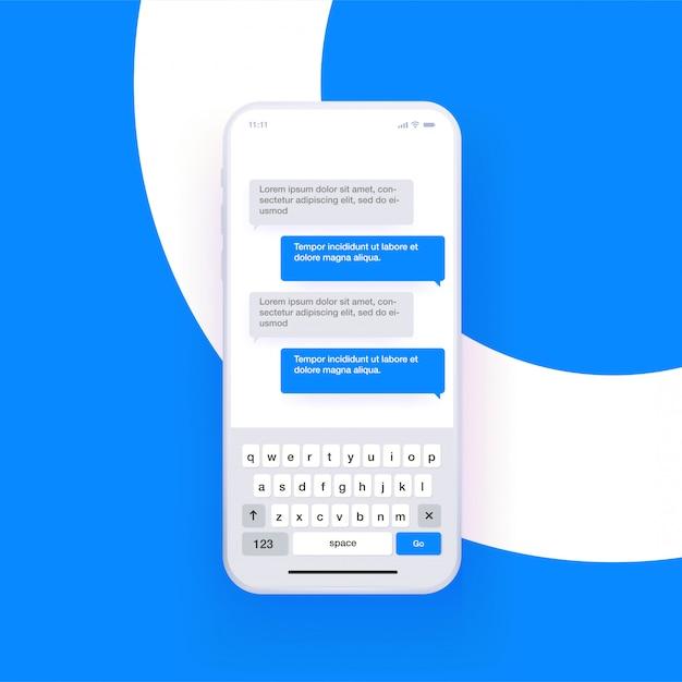 Smartphone realistico con tastiera di digitazione qwerty aperta e simulazione chat. concetto di messaggistica. . Vettore Premium