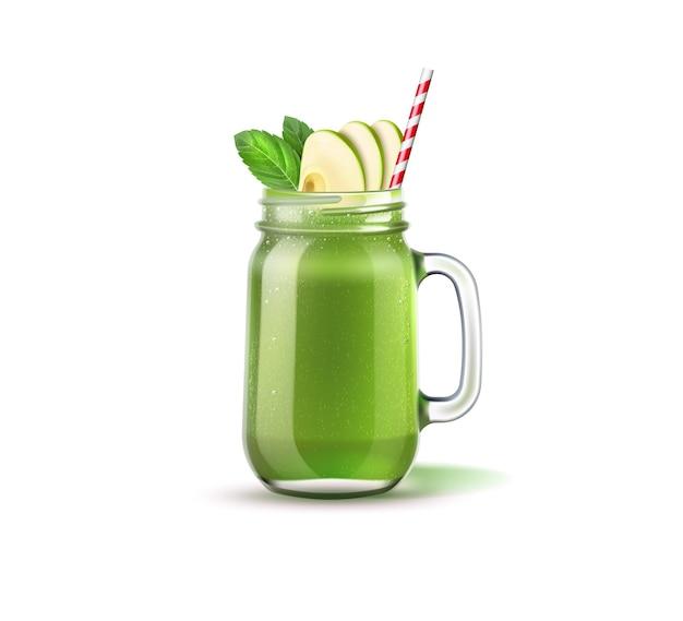 Vaso di muratore frullato realistico con fette di mela, foglie verdi e paglia. miscela di frutta e verdura verde in un barattolo di vetro. cocktail disintossicante per una dieta sana. spinaci, kiwi e frullato di sedano. Vettore Premium