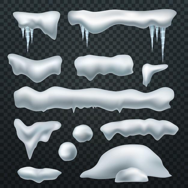 Cappucci da neve realistici. Vettore Premium