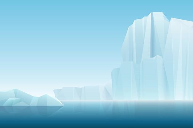 Montagne di ghiaccio dell'iceberg artico della nebbia morbida realistica con il mare blu, paesaggio di inverno. Vettore Premium