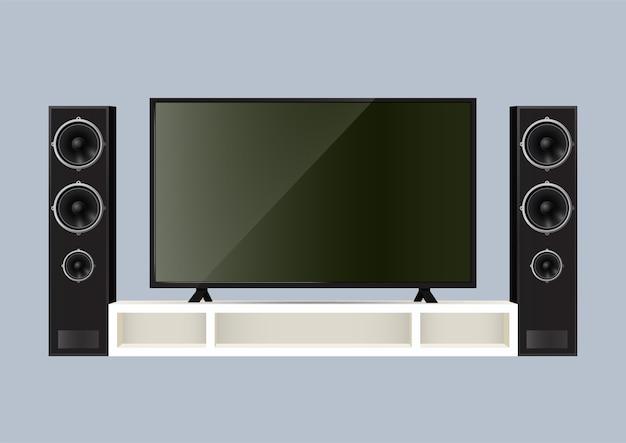 Altoparlante realistico e smart tv sul tavolo. illustrazione. Vettore Premium