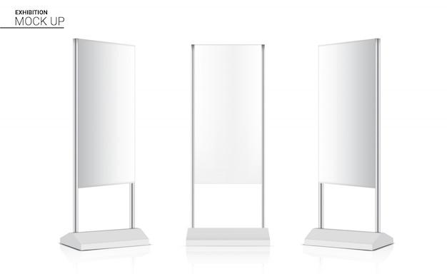 Stand pop 3d con display chiosco banner roll up realistico Vettore Premium