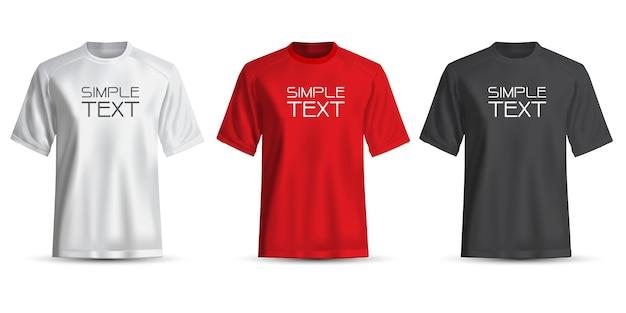 T-shirt realistica bianco rosso nero su bianco Vettore Premium
