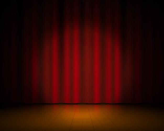 Palcoscenico realistico. tende rosse e riflettori, sfondo dello spettacolo di broadway, elegante drappo cinematografico Vettore Premium