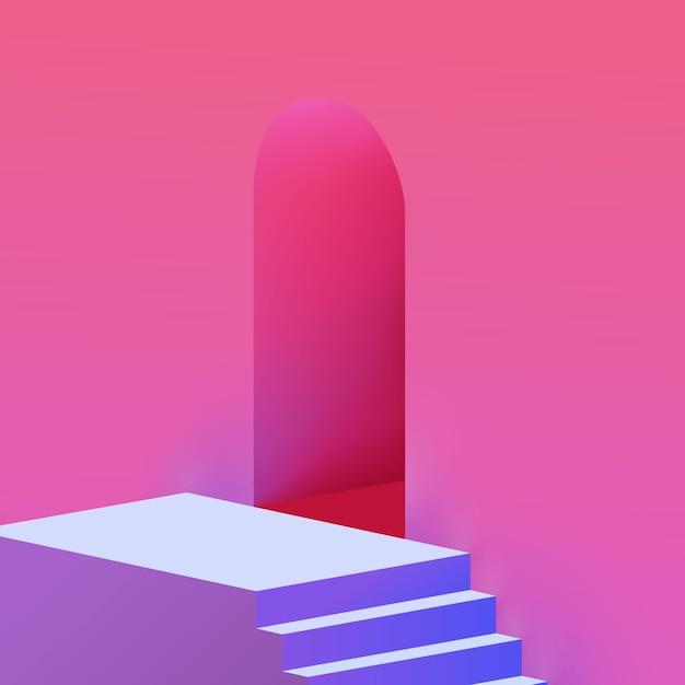 Scale minimaliste pastello alla moda realistiche e fondo di architettura della parete dell'arco Vettore Premium