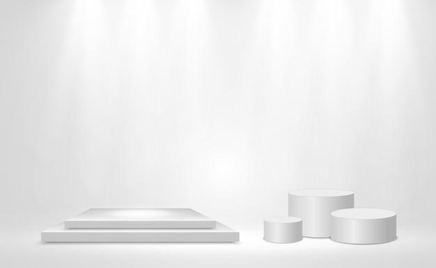 Illustrazione vettoriale realistica di una piattaforma 3d su uno sfondo trasparente. Vettore Premium