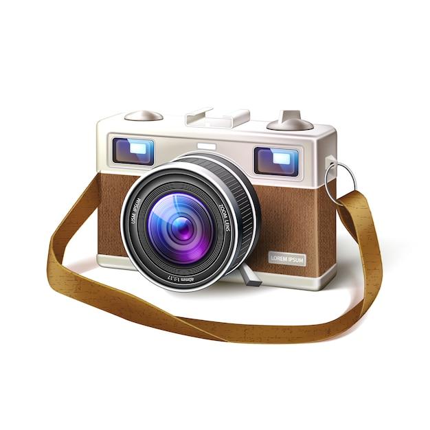 Obiettivo macro realistica della macchina fotografica della foto del film dell'annata Vettore Premium