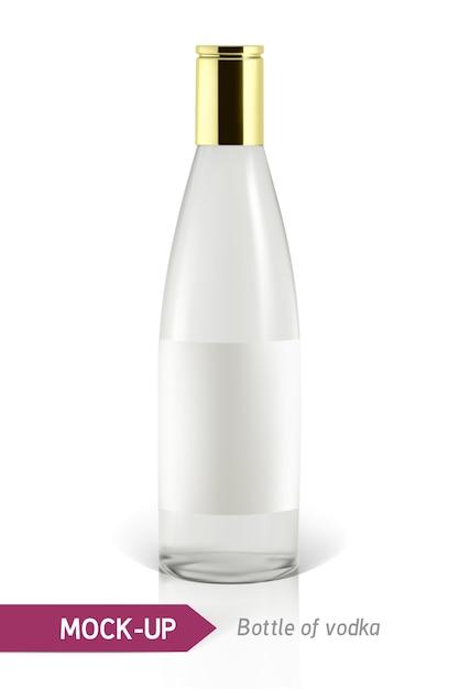 Bottiglia di vodka realistica o altra bottiglia di gin. su uno sfondo bianco con ombra e riflesso. Vettore Premium