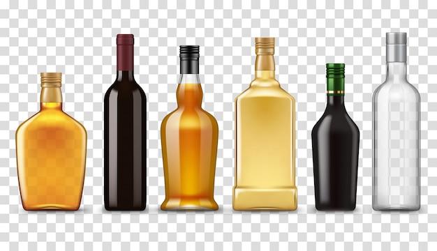 Whisky realistico, vodka, rum e bottiglie di vino Vettore Premium