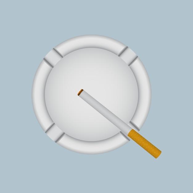 Posacenere bianco realistico con sigaretta accesa. Vettore Premium