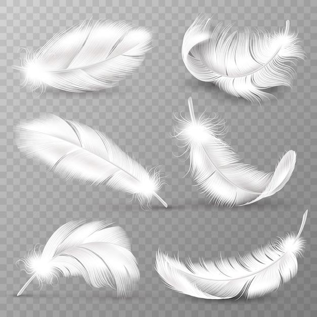Piume bianche realistiche. piumaggio di uccelli, piuma soffice e cadente, piume di ali d'angelo in volo. insieme realistico di vettore isolato Vettore Premium