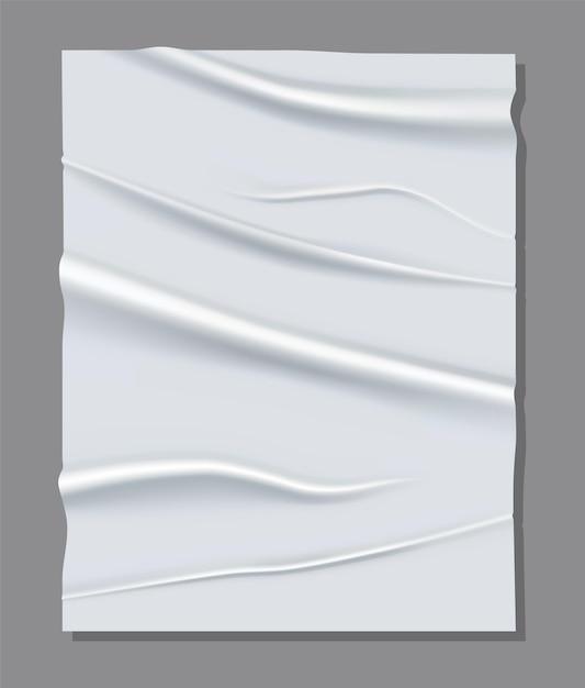 Foglio bianco realistico di carta stropicciata. Vettore Premium