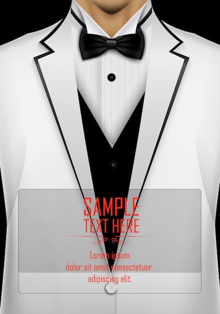 Realistico abito bianco e smoking con modello di cravatta nera Vettore Premium