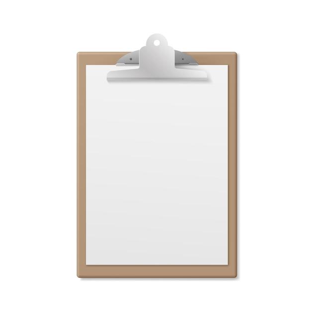 Appunti di legno realistici con pagina vuota bianca isolata su bianco Vettore Premium