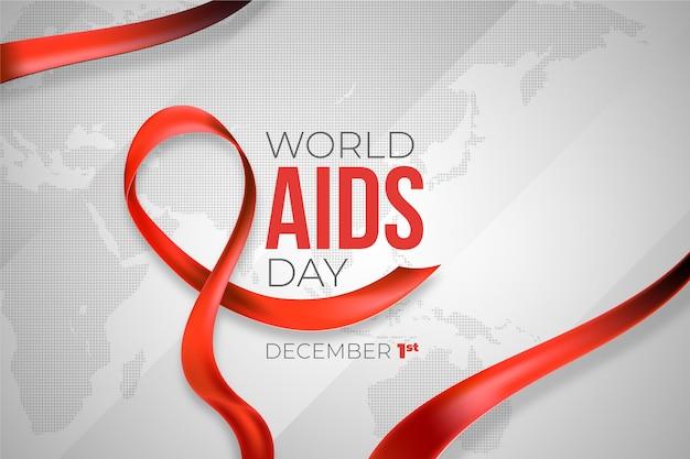Nastro rosso di giornata mondiale contro l'aids realistico Vettore Premium