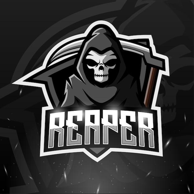 Illustrazione di esport mascotte di reaper Vettore Premium
