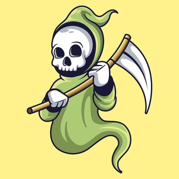 Reaper mascotte carattere divertente design illustrazione Vettore Premium