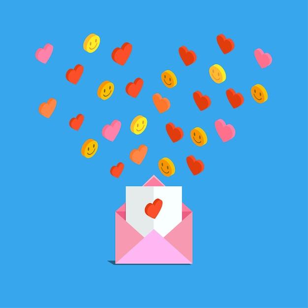 Ricezione o invio di e-mail e sms d'amore per san valentino. Vettore Premium