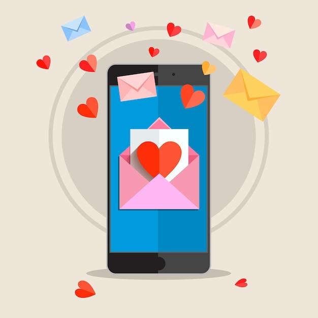 Ricevere o inviare e-mail d'amore per san valentino. Vettore Premium